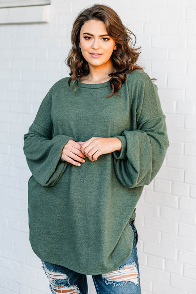 sweater, long sleeve, bubble sleeves, long, curved hem, oversized, olive, comfy, fall, winter, flowy