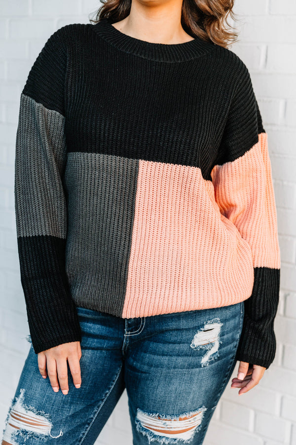 top, sweater, color block, pink, grey, black, long sleeve