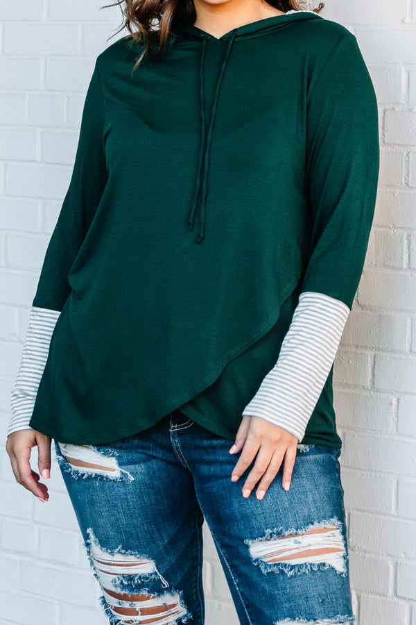 hoodie, long sleeve, hood, drawstrings, asymmetrical hem, green, stripe cuffs, white, gray, comfy, outerwear