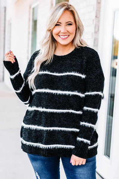 sweater, long sleeve, loose, fuzzy, black, white, striped, comfy, fall, winter