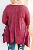 shirt, long sleeve, crisscross neckline, asymmetrical hem, long, flowy, pockets, burgundy, comfy, fall, winter