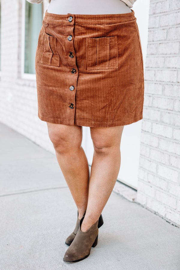 skirt, short, pockets, button down, corduroy, camel, comfy, fall, winter