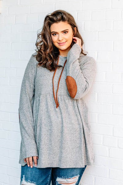 hoodie, long sleeve, hood, drawstrings, elbow patches, babydoll, flowy, ribbed, oatmeal, comfy