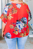 blouse, short sleeve, vneck, split front, twisted front, red, floral, blue, green, orange, yellow, white, comfy