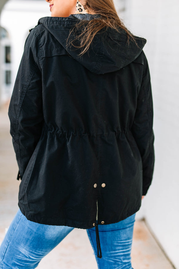 jacket, winter, fall, hood, pockets, zip up, cinch waist, black, long sleeve