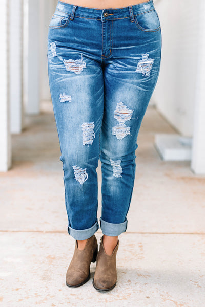 jeans, boyfriend, blue, faded, distressed, ripped, long