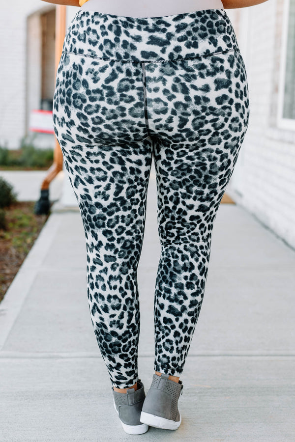 leggings, high waist, long, black, gray, leopard