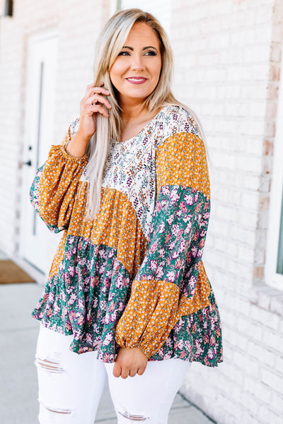 shirt, long sleeve, bubble sleeves, tiered, flowy, long, white, purple, mustard, green, pink, floral, colorblock, comfy