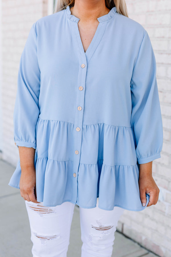 blouse, three quarter sleeve, vneck, button down, babydoll, tiered, blue, long, comfy