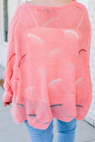 sweater, long sleeve, wavy hem, loose knit, coral, comfy
