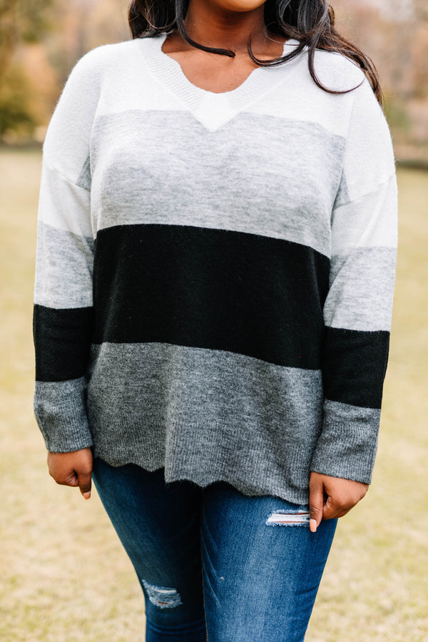 sweater, long sleeve, scallop neckline, scallop hem, white, gray, black, colorblock, comfy, fall, winter