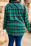 shirt, long sleeve, button down, collared, longer back, green, black, white, plaid, comfy, fall, winter