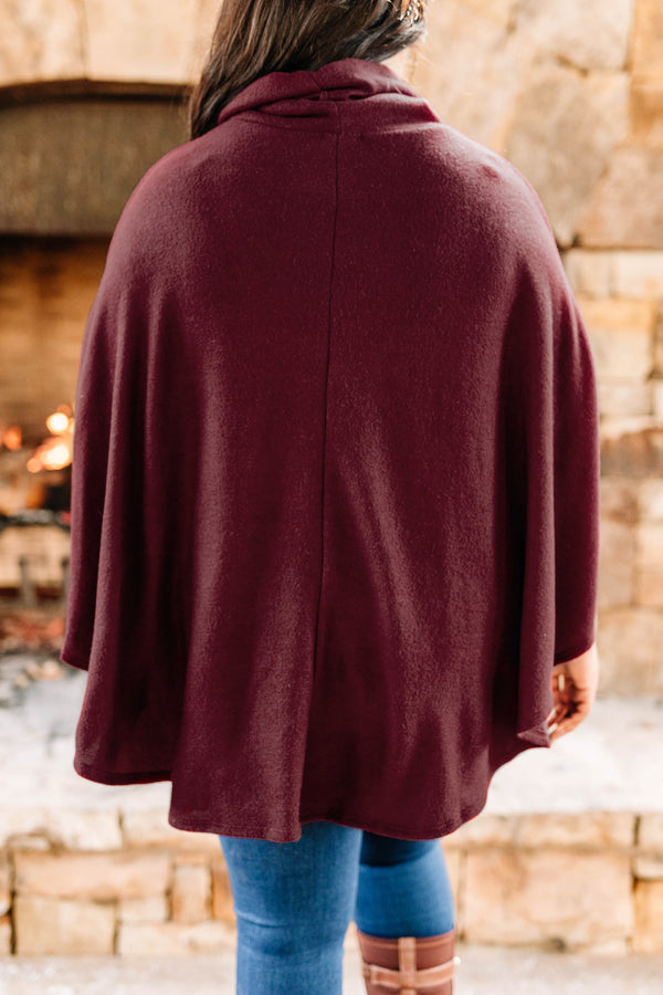 poncho, short sleeve, turtleneck, short, flowy, comfy, burgundy