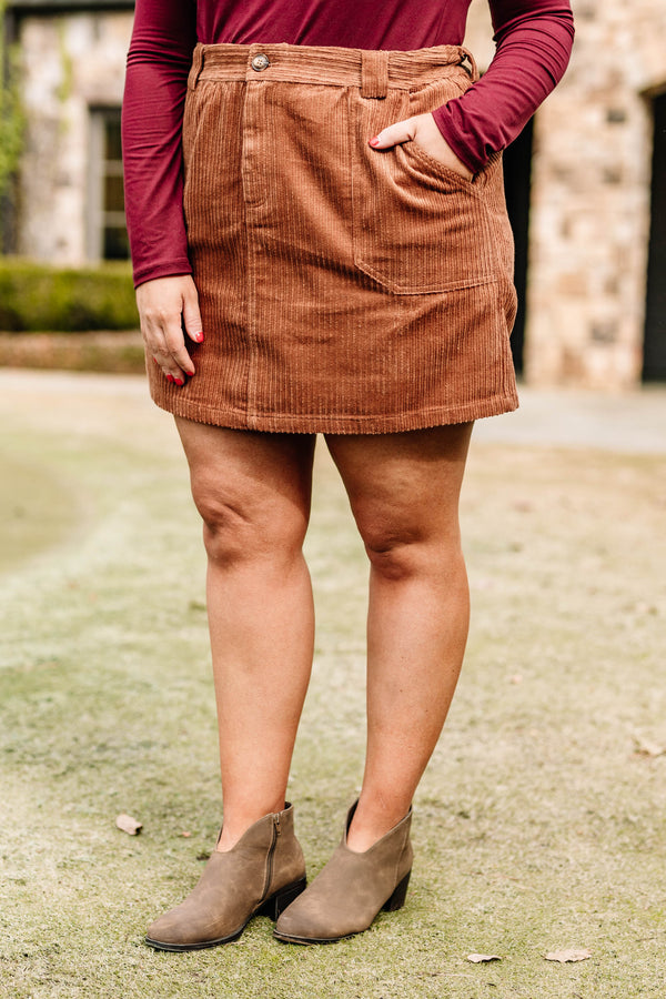 skirt, short, pockets, corduroy, camel, comfy, fall, winter