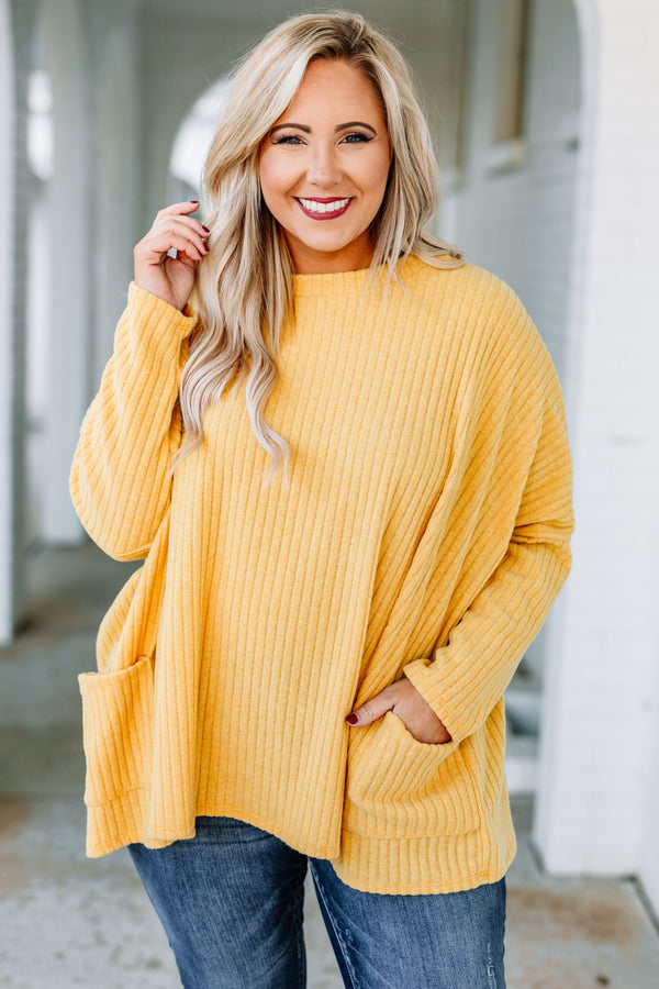 shirt, long sleeve, pockets, flowy, ribbed, longer back, yellow, comfy, fall, winter