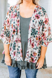 kimono, short sleeve, short, longer back, flowy, white, floral, red, green, pink, brown, polka dot trim, outerwear, spring, summer