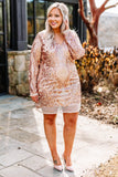 dress, short, long sleeve, vneck, fitted, rose gold, glitter, victorian print, comfy, party, holiday, fall, winter