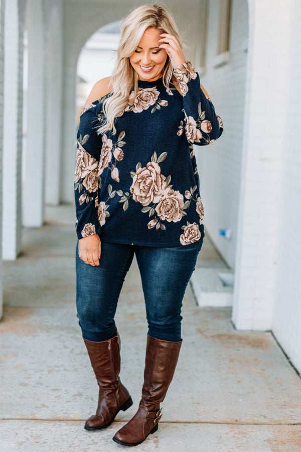 shirt, long sleeve, cold shoulder, loose, navy, floral, taupe, green, comfy, fall, winter