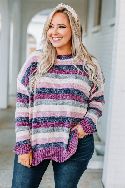 sweater, long sleeve, wavy hem, purple, navy, pink, white, gray, striped, comfy, fall, winter