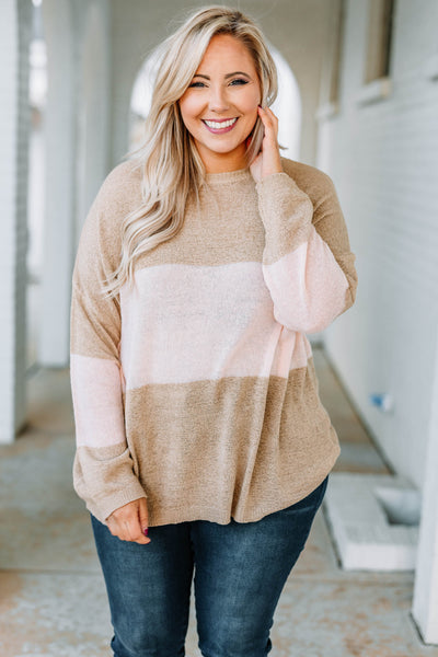 sweater, long sleeve, curved hem, long, flowy, taupe, white, colorblock, comfy, fall, winter