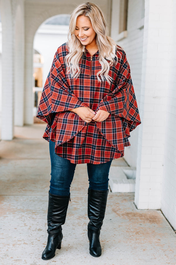 poncho, long sleeve, long, flowy, collared, quarter zip, fuzzy collar, red, blue, black, plaid, comfy, outerwear, fall, winter