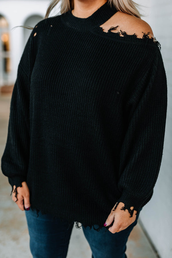 sweater, black, fall, winter, distressed, stretchy, shoulder cutout, warm, unique