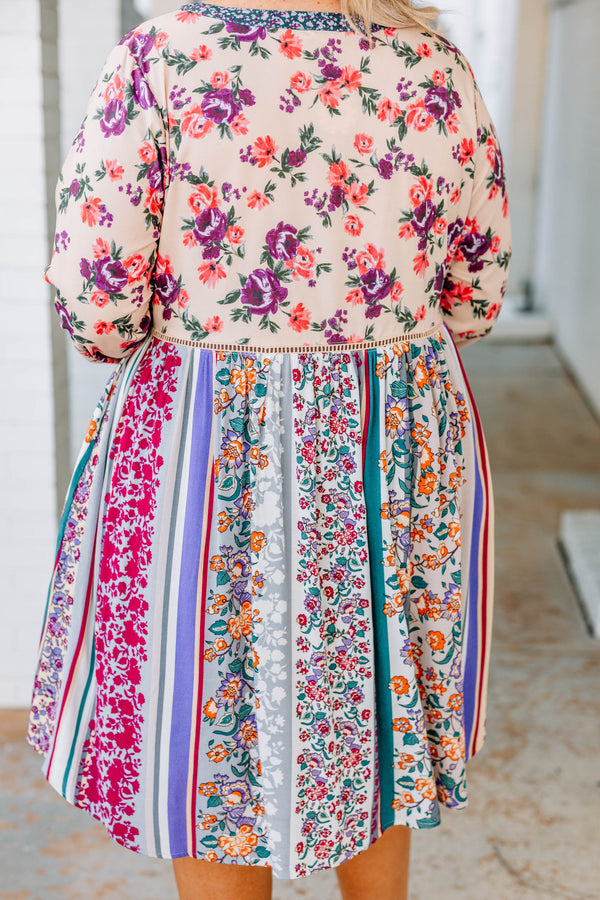 dress, short, long sleeve, vneck, flowy, tan, floral, blue, purple, orange, pink, comfy
