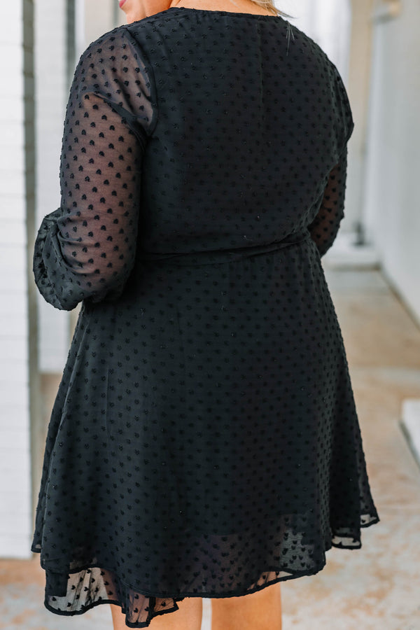 dress, short, long sleeve, vneck, wrap dress, asymmetrical hem, sheer sleeves, polka dot fabric, black, comfy, flowy, fall, winter