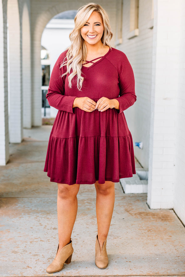 dress, short, long sleeve, babydoll, tiered, vneck, crisscross neckline, flowy, ribbed, flowy, burgundy, comfy, fall, winter