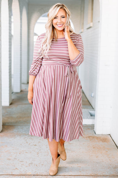 dress, midi, three quarter sleeve, bubble sleeves, tie waist, flowy, mauve, white, striped, comfy
