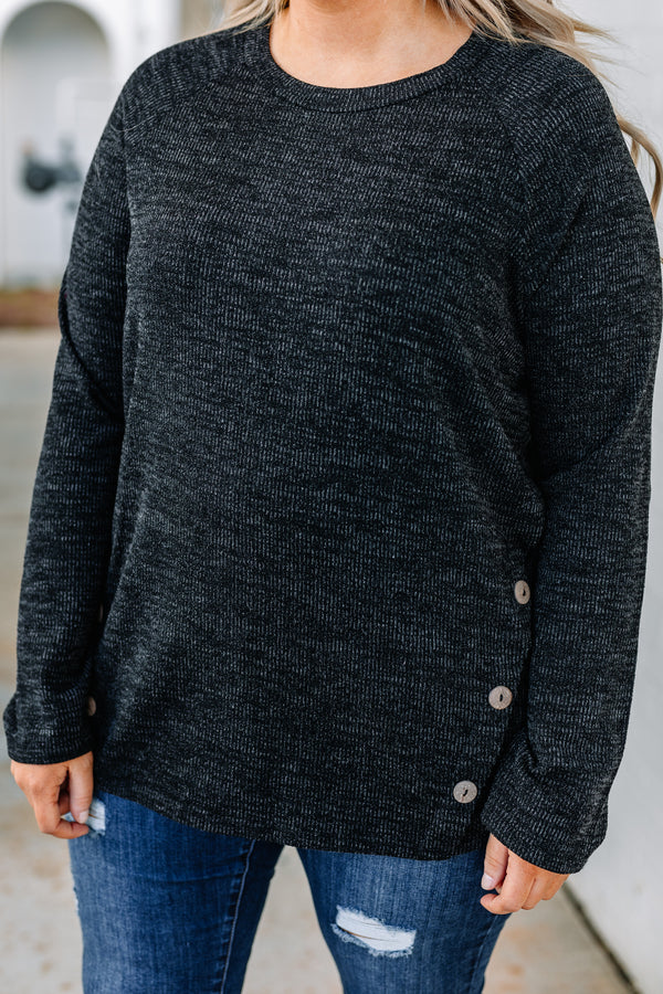 shirt, long sleeve, elbow patches, fitted, button details, black, heathered, comfy, fall, winter