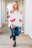 sweater, long sleeve, vneck, wide sleeves, distressed hems, white, hearts, red, loose, comfy, winter, valentines