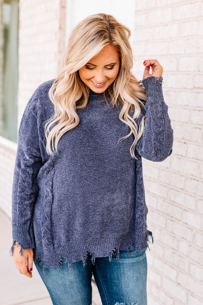 sweater, long sleeve, distressed hems, loose, soft, navy, comfy, fall, winter