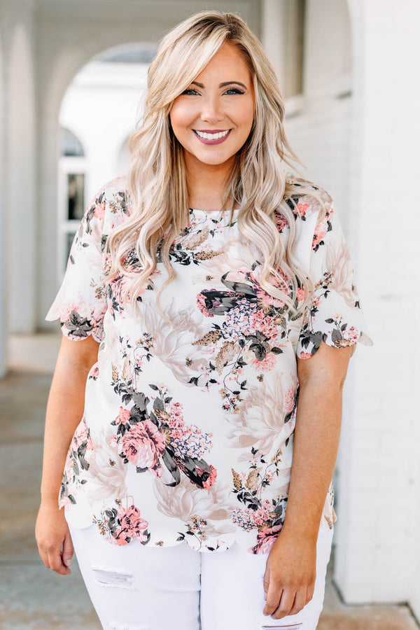 blouse, short sleeve, short, scalloped hems, white, floral, taupe, pink, green, black, comfy