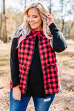 vest, zip up, drawstring waist, furry lining, red, black, plaid, comfy, outerwear, fall, winter