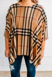 poncho, three quarter sleeve, asymmetrical hem, flowy, taupe, white, black, red, plaid, comfy, outerwear, fall, winter