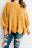 sweater, long sleeve, bubble sleeve, short, scalloped hem, boat neck, off the shoulder, loose stitch details, flowy, mustard, comfy, fall, winter