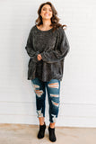 shirt, long sleeve, bubble sleeves, flowy, comfy, waffle knit, charcoal, fall, winter