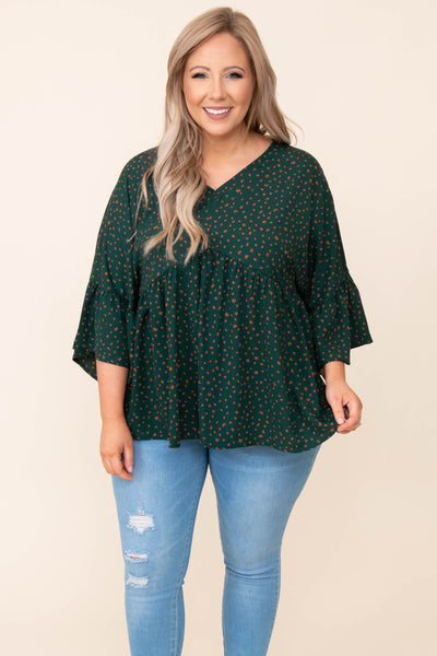 top, casual top, babydoll top, green, leopard, bell sleeve, hunter green