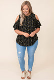 top, casual top, black, floral, flutter sleeve, cold shoulder