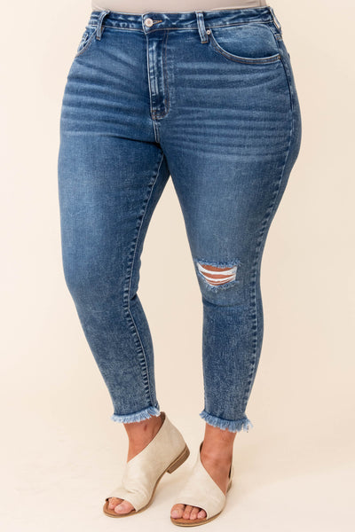 bottoms, jeans, jeggings, blue, solid, distressed, skinny, dark wash