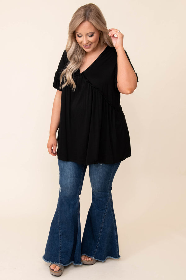 tops, casual, black, solid, flutter sleeve