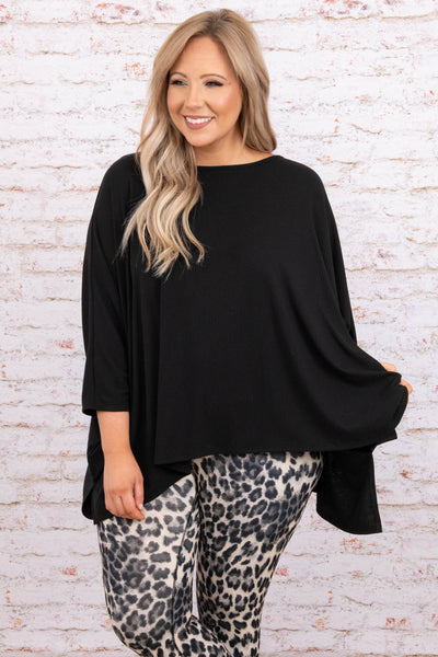 top, casual top, black, solid, dolman