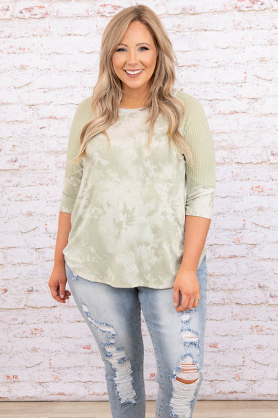 top, casual top, green, tie dye, three quarter sleeve, sage