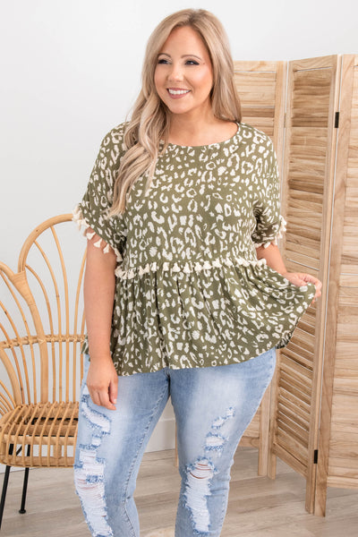 tops, casual, babydoll top, green, leopard, short sleeve, tassle