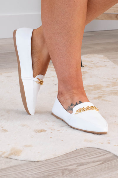 shoes, flats, white, solid, gold, chain