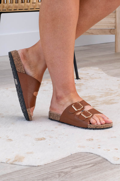 shoes, sandals, brown, solid, chestnut