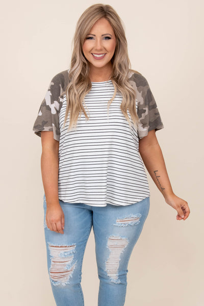 top, casual, white, camo, camoflauge, short sleeve, stripes
