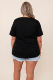 top, casual, black, graphic, short sleeve, lips