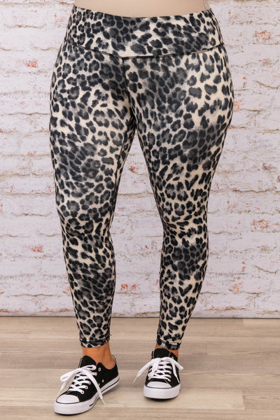 bottoms, leggings, black, leopard